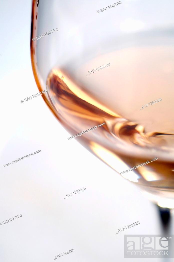 Stock Photo: Glass of rosé wine, Bandol AOC, Var, Provence-Alpes-Côte d'Azur, France.
