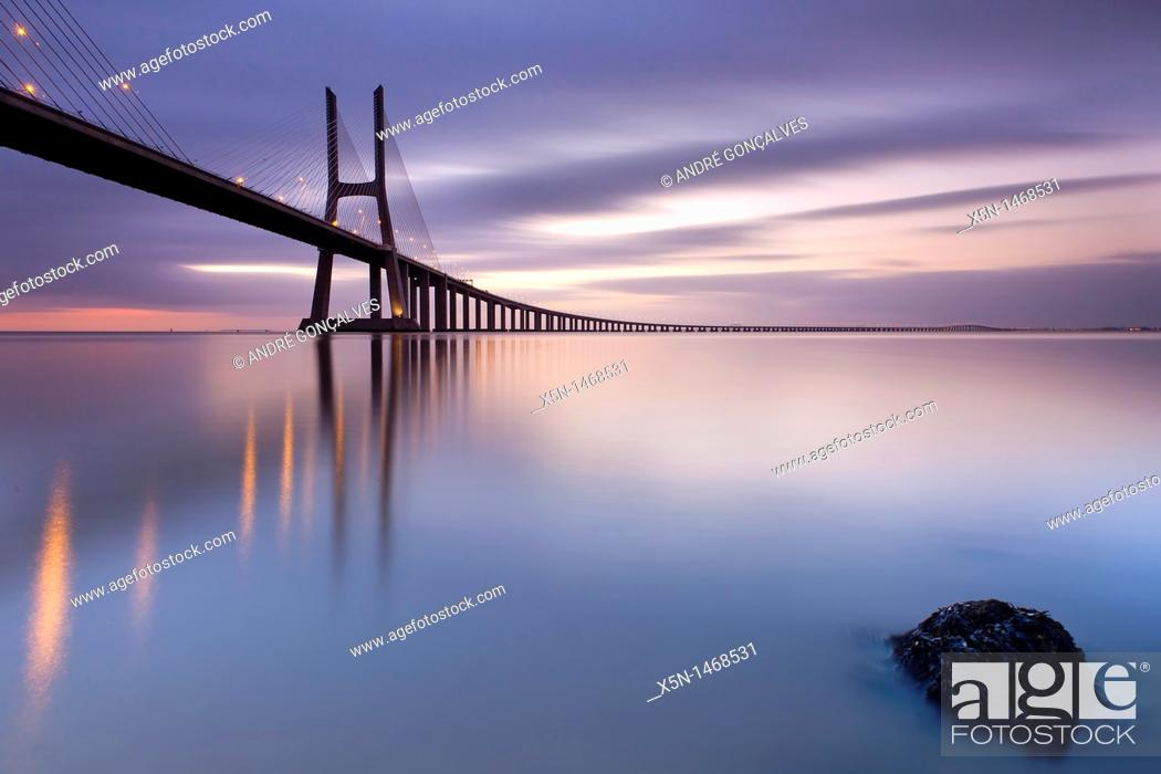 Stock Photo: Vasco da Gama Bridge, Lisbon, Portugal, Europe.