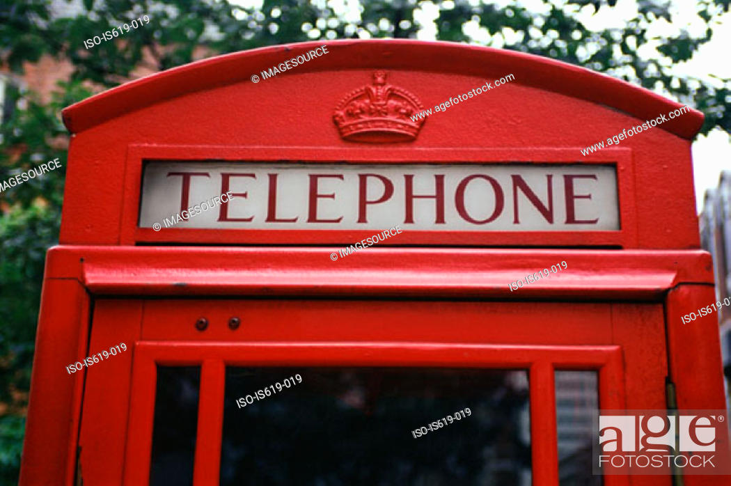 Stock Photo: Red telephone booth.