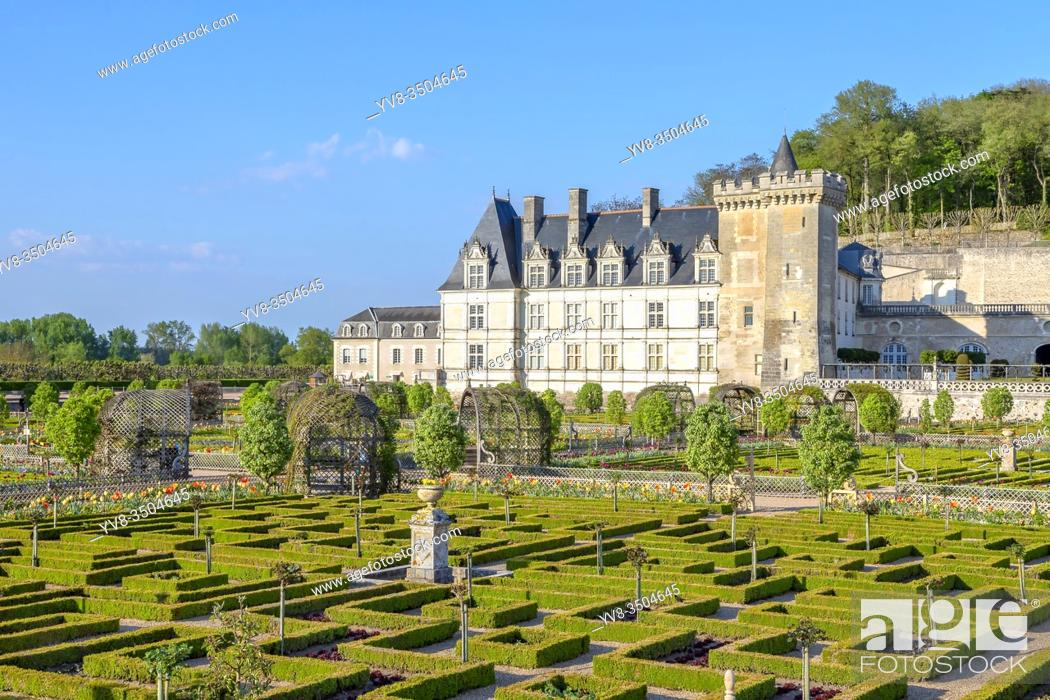 Stock Photo: The Chateau of Villandry and its beautiful garden, France.