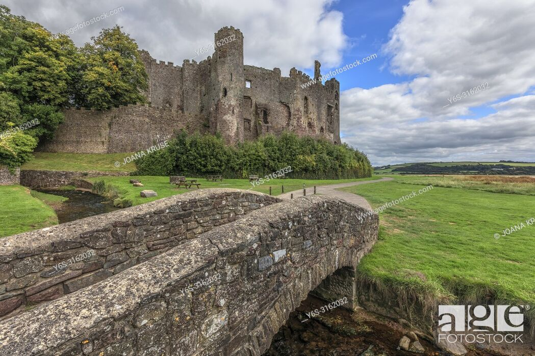 Stock Photo: Laugharne Castle, Carmarthenshire, Wales, UK, Europe.