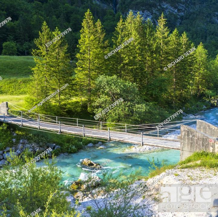 Stock Photo: Rope bridge on the river Soca, Triglavski national park, Slovenia.