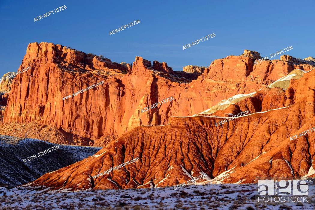 Stock Photo: Recent snow in the High Desert, Capitol Reef National Park, Utah, USA.