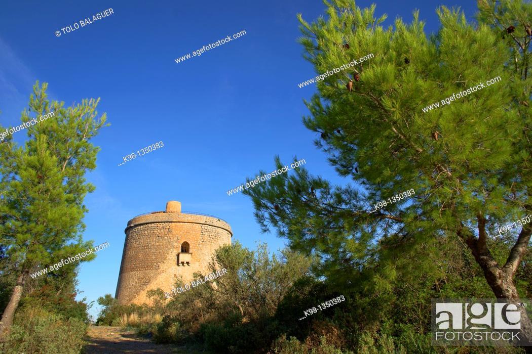 Stock Photo: Torre Picada, XVII century, Puerto de Soller, Sierra de Tramuntana, Mallorca Balearic Islands Spain.