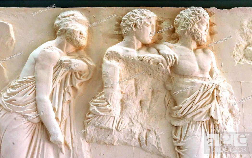 Stock Photo: three old men, old men, Athenians, Greeks, ancient greeks, Marble Panel Parthenon Acropolis Athens Greece. Parthenon created 438 BC and is symbol of ancient.