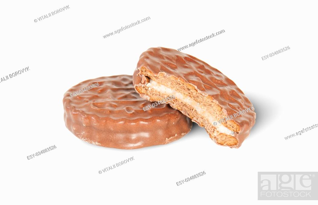 Photo de stock: Whole And Bitten Off Chocolate Cookies Isolated On White Background.