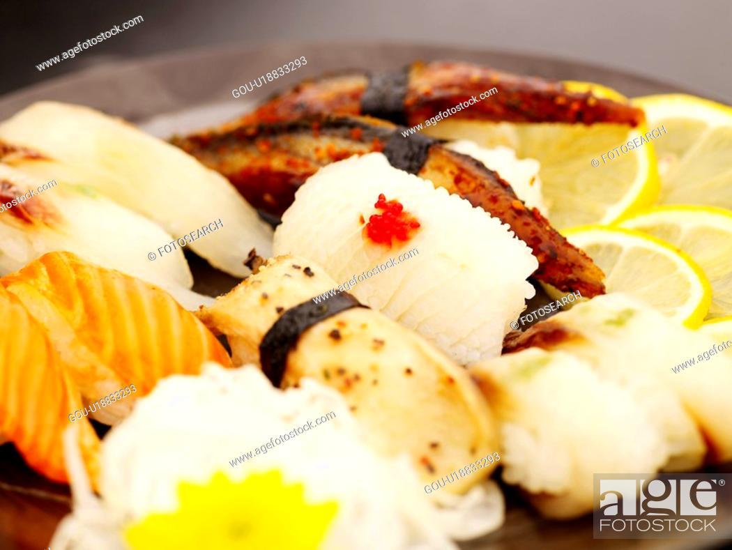 Stock Photo: cuttle fish, plate, eel, decoration, food styling, mushroom, sushi plate.