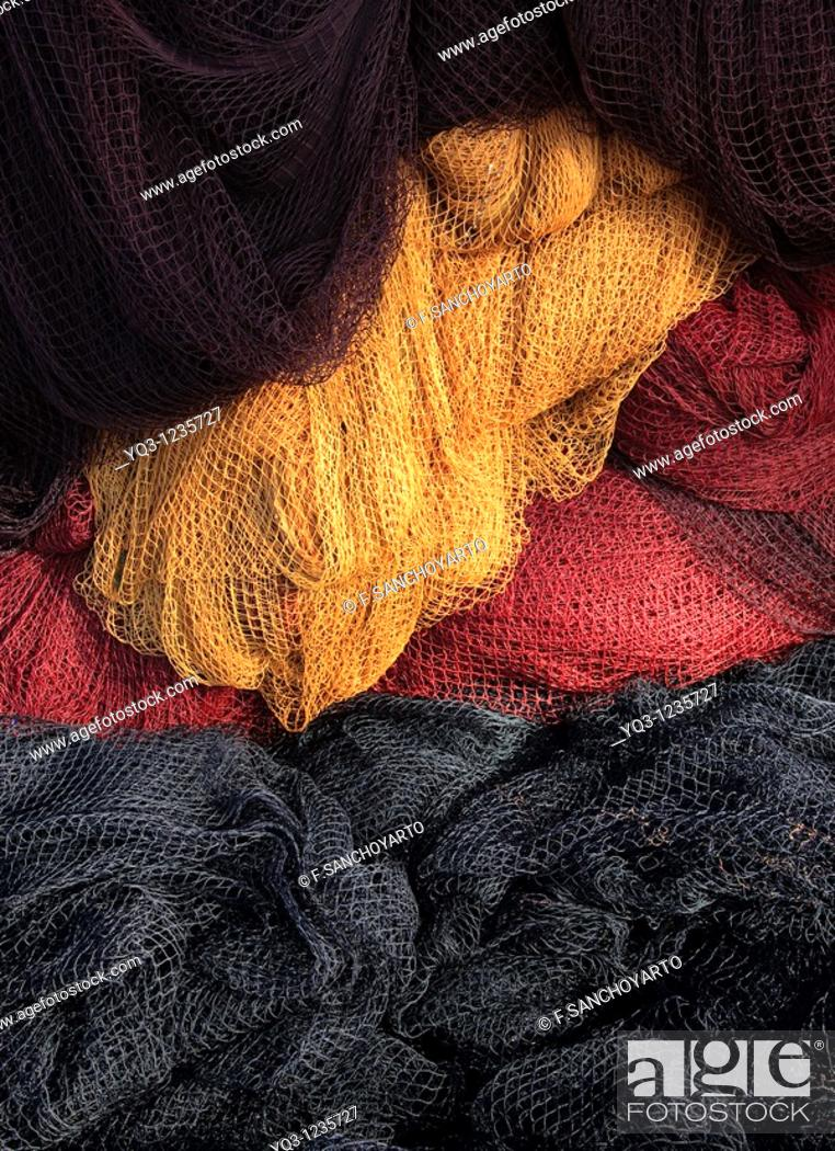 Stock Photo: Fishing nets at port, Castro Urdiales, Cantabria, Spain.