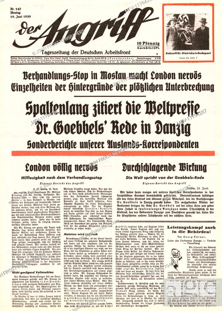 Stock Photo: 1939 Der Angriff (Germany) front page Political crisis over Danzig.