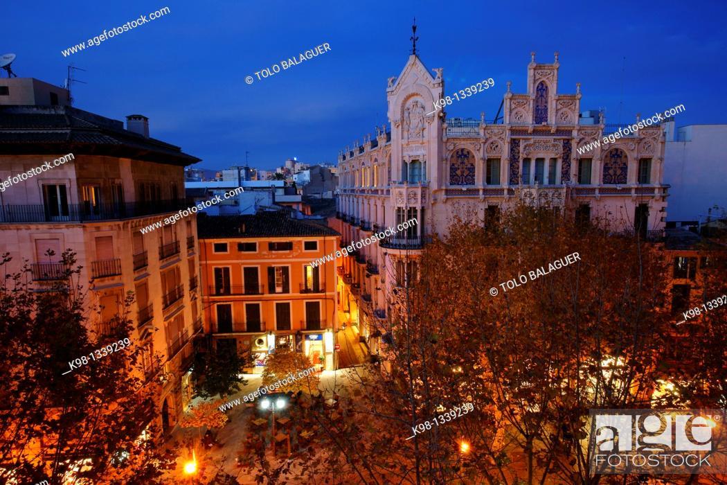 Stock Photo: Grand Hotel Grand Hotel 1901-1903 Foundation la Caixa Palma Balearse Islands Mallorca Spain.