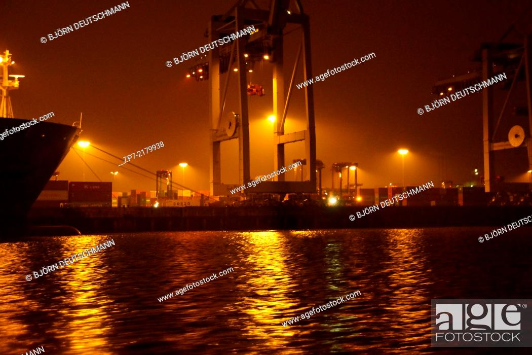Stock Photo: The Container terminal in Hamburg.
