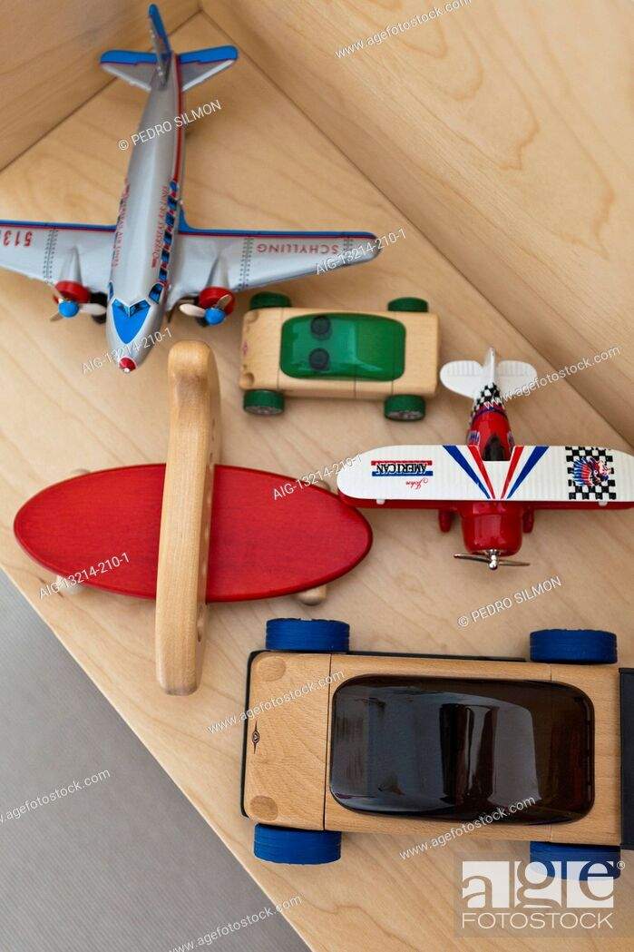 Stock Photo: Traditional wooden toys on a shelf.