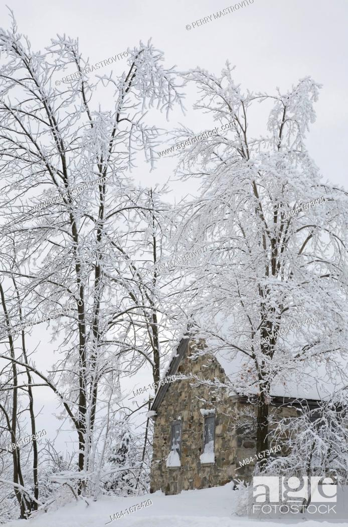 Stock Photo: Old Fieldstone constructed Tibitts Hill School House through Snow covered Trees in Winter, Eastern Townships, Quebec.
