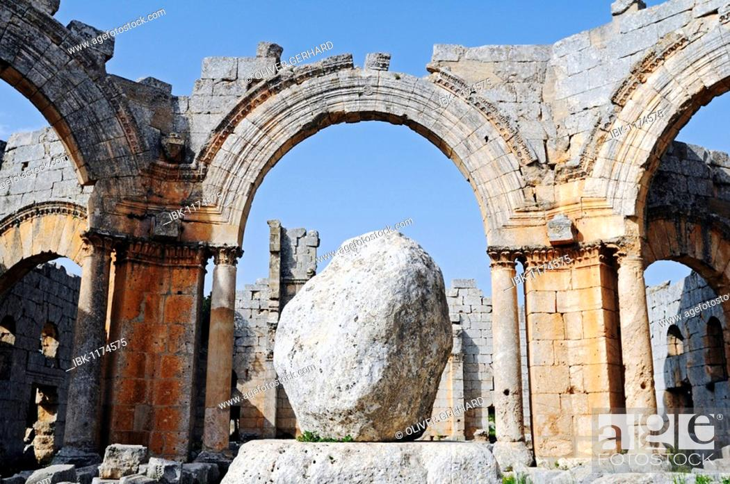 Stock Photo: Stone of the Stylite or Pillar-Saint Simeon in the Simeon Monastery in Quala'at Samaan, Dead Cities, Syria, Asia.