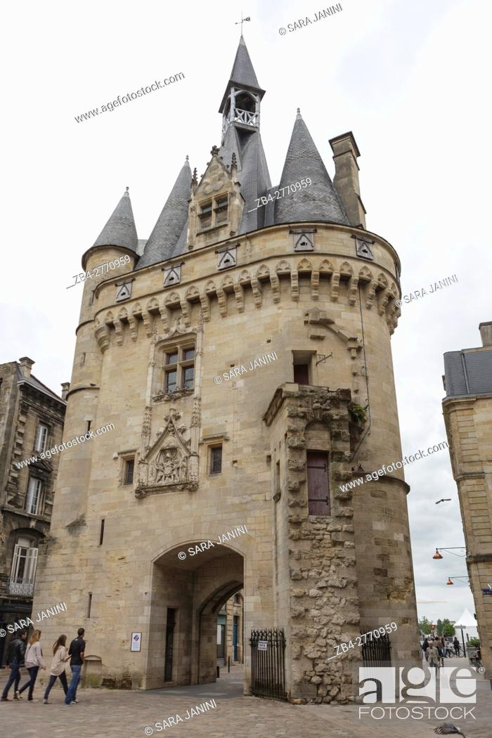 Stock Photo: The Medieval Cailhau city gate in Bordeaux, Gironde, France.