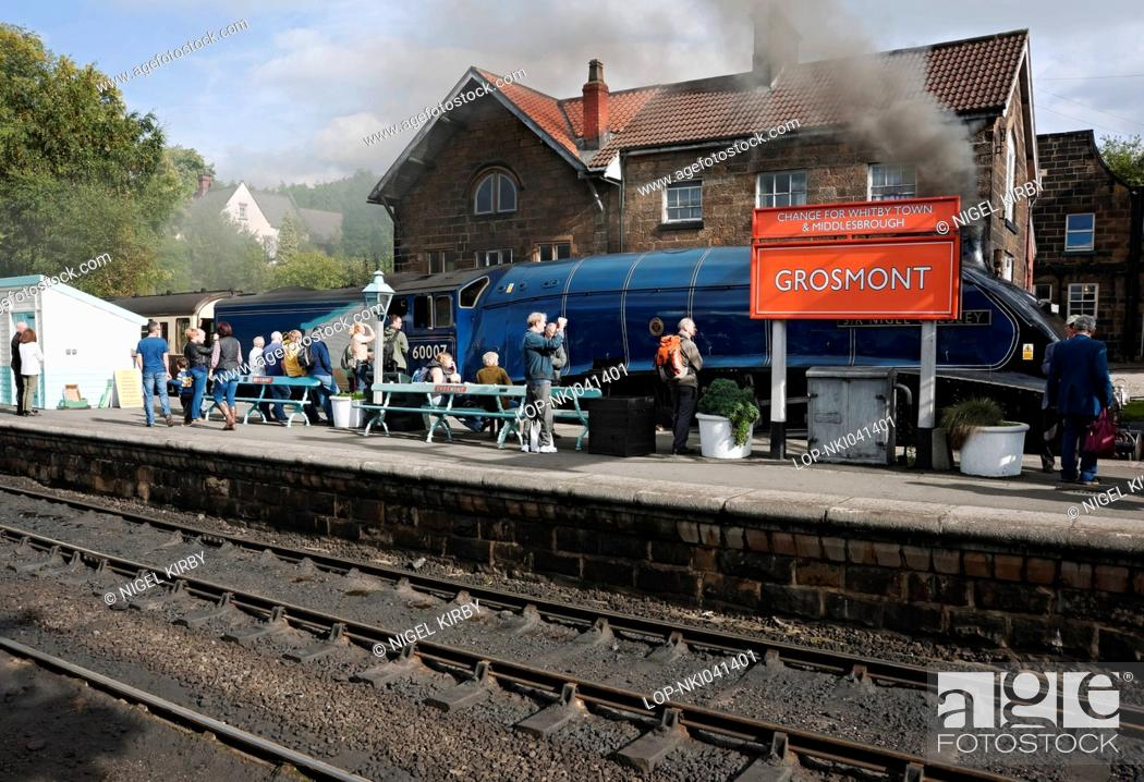 Stock Photo: England, North Yorkshire, Grosmont. A4 Pacific class locomotive Sir Nigel Gresley at Grosmont Station on the North Yorkshire Moors railway.