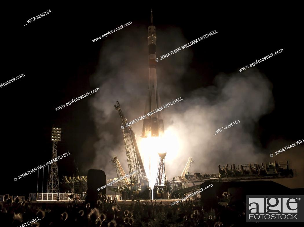 Stock Photo: KAZAKHSTAN Baikonur Cosmodrome -- 29 May 2013 -- A Soyuz rocket with Expedition 36/37 Soyuz Commander Fyodor Yurchikhin of the Russian Federal Space Agency.