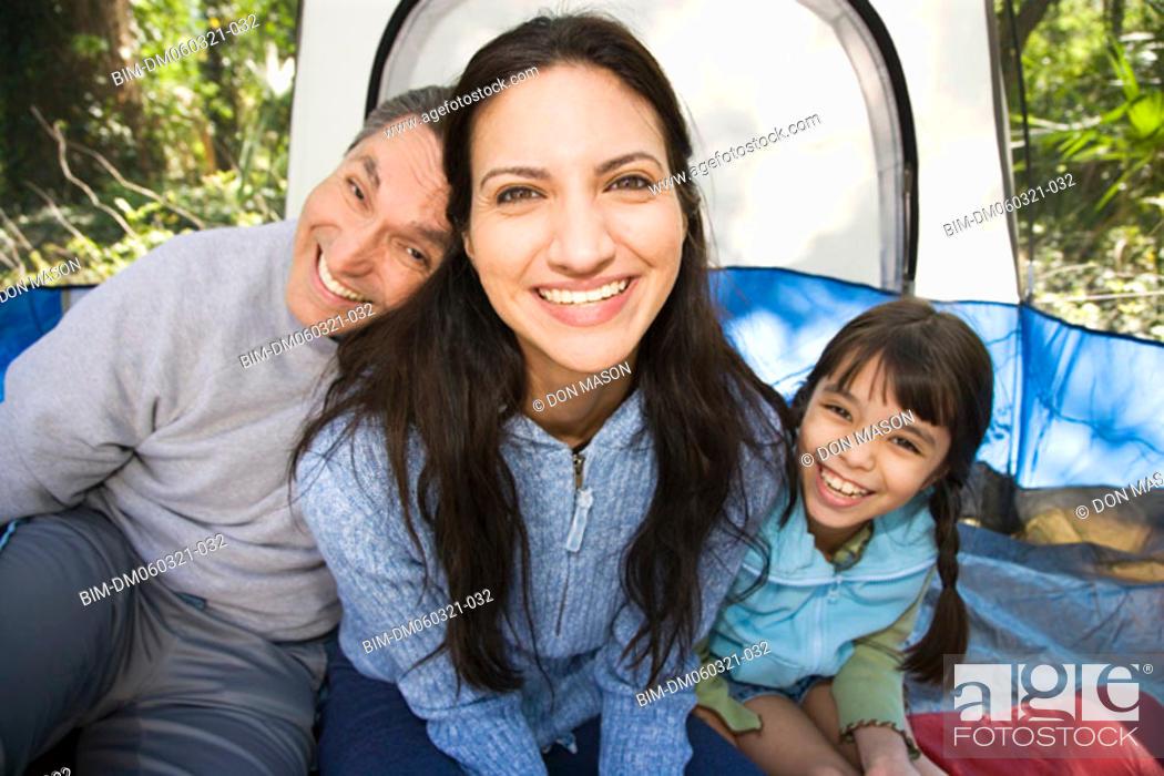 Stock Photo: Hispanic family camping.