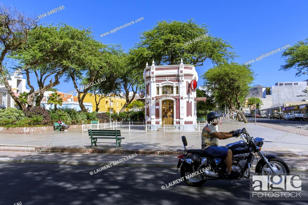 Stock Photo: White and Red Kiosk Cafe Building at Amilcar Cabral Square or New Square, Mindelo, Sao Vicente, Cape Verde Islands, Africa.