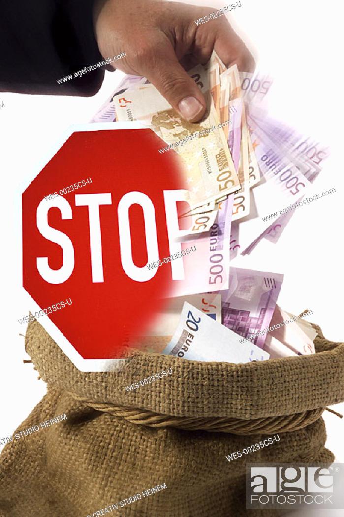 Stock Photo: German saying 'Griff ins Steuersäckl', federal tax spending.