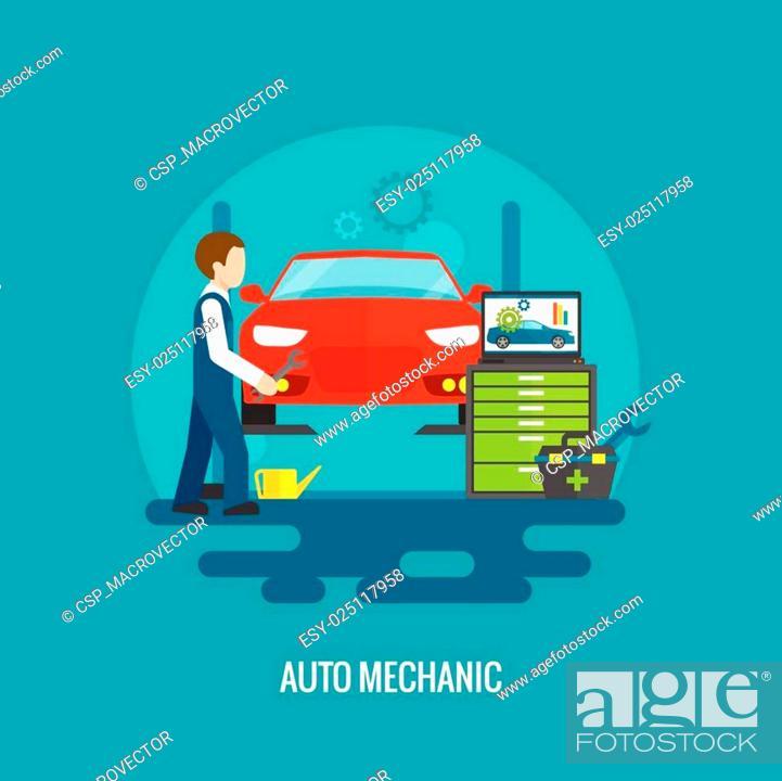 Stock Vector: Auto Mechanic Flat.