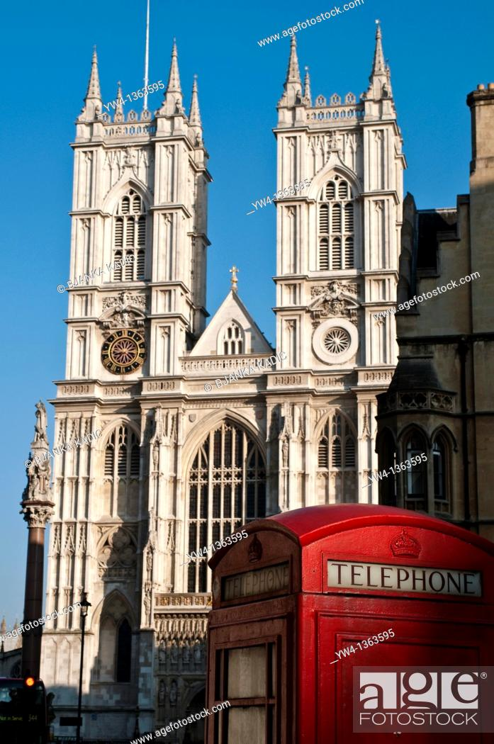 Stock Photo: Westminster Abbey and telephone booth,London, UK.