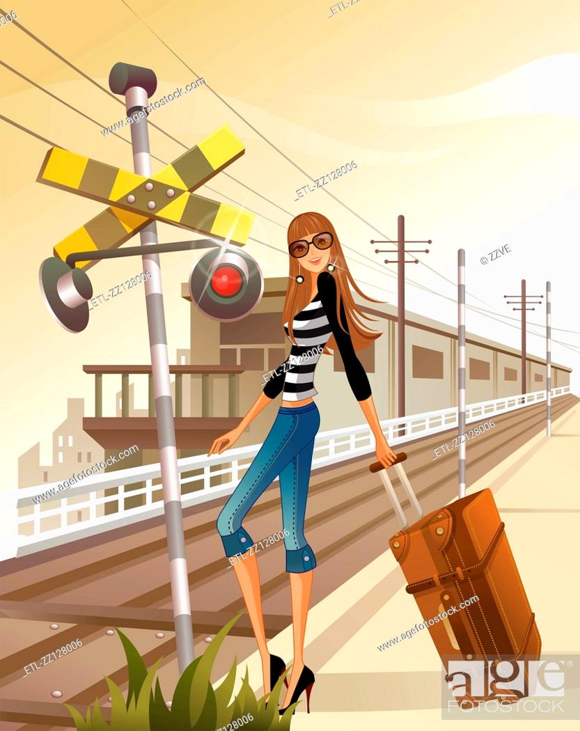 Stock Photo: Woman with luggage standing by railroad crossing sign.