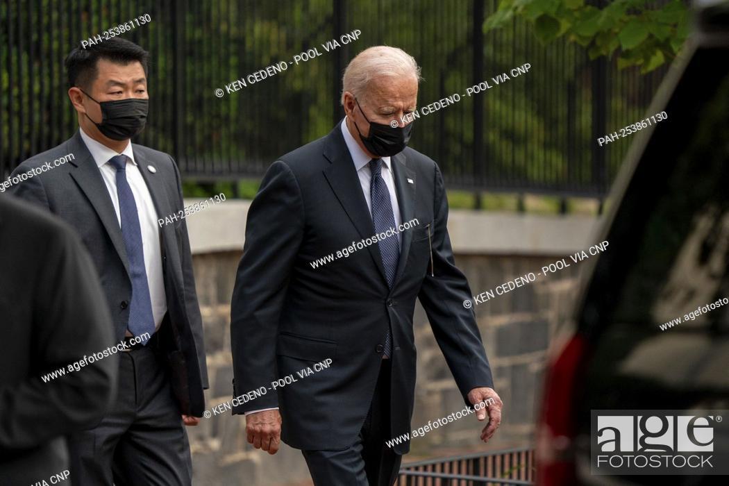 Stock Photo: United States President Joe Biden walks out of Holy Trinity Catholic Church after mass in the Georgetown neighborhood of Washington, D.C.