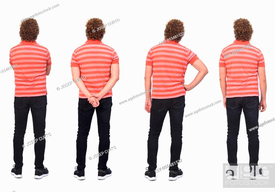 Photo de stock: full portrait of a same man with curly hair and white background, rear view.