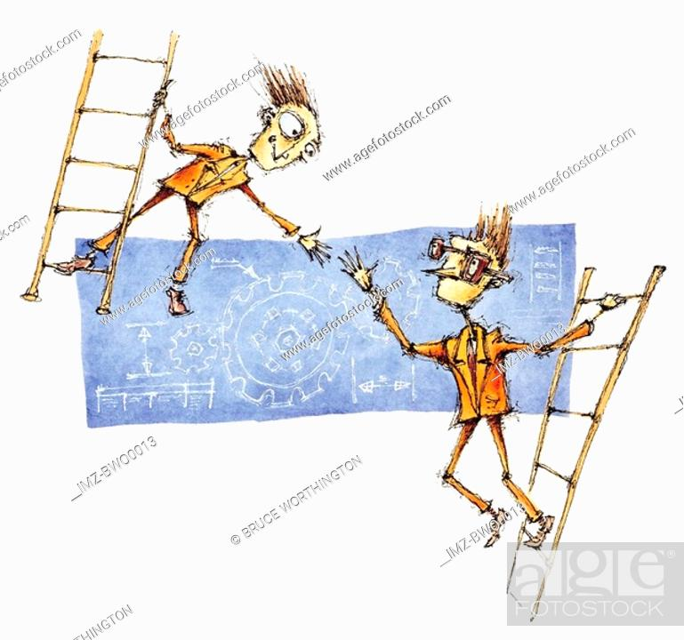 Stock Photo: Two business men on ladders reaching for a handshake in agreement.