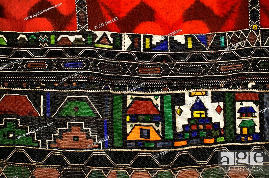 Stock Photo: Handicraft Stofpad by Sara Mhoto Ndzundza from Mpumalanga province, Ditsong National Museum of Cultural History, Pretoria, South Africa.