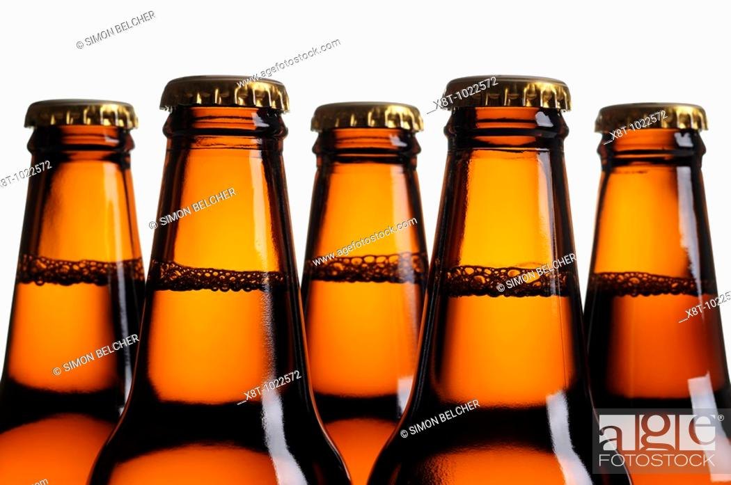 Stock Photo: Beer Bottles, Close Up.