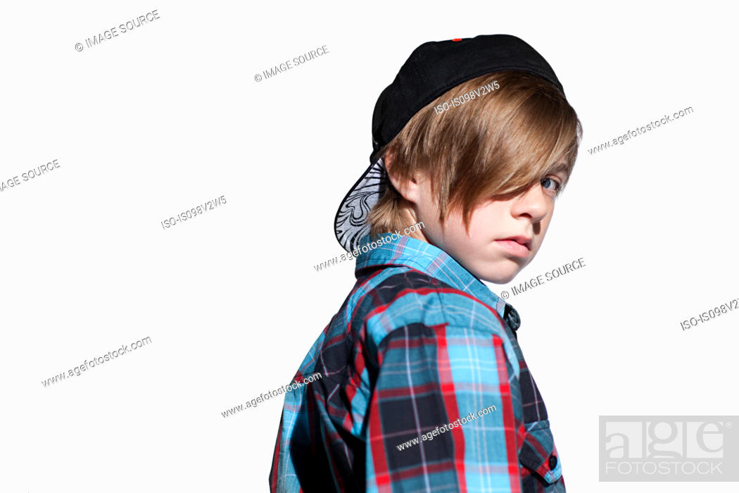 Stock Photo: Teenage boy looking over shoulder.
