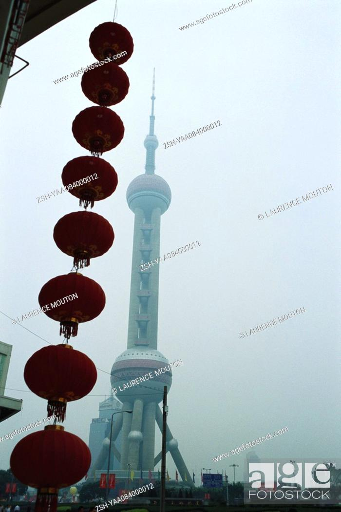 Stock Photo: Paper lanterns, Oriental Pearl TV Tower in background, Pudong Park, Lujiazui, Shanghai, China.