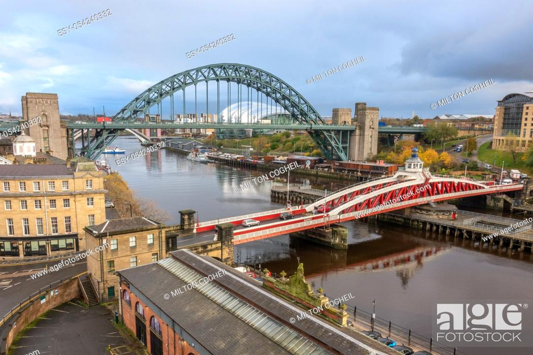 Stock Photo: The Tyne and Swing bridges over the River Tyne, connecting Newcastle upon Tyne and Gateshead, UK.