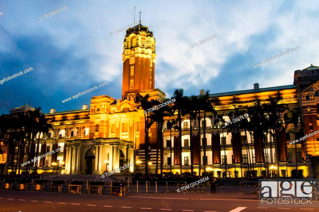 Stock Photo: Presidential Office Building at night, Zhongzheng, Taipei, Taiwan.