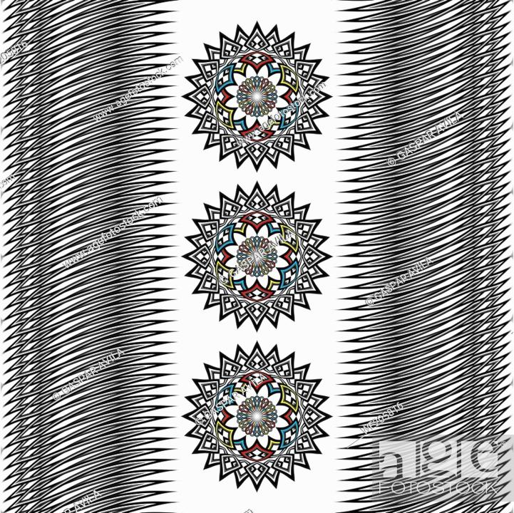 Vecteur de stock: Graphic design with three mandalas and lines pattern on a white background.
