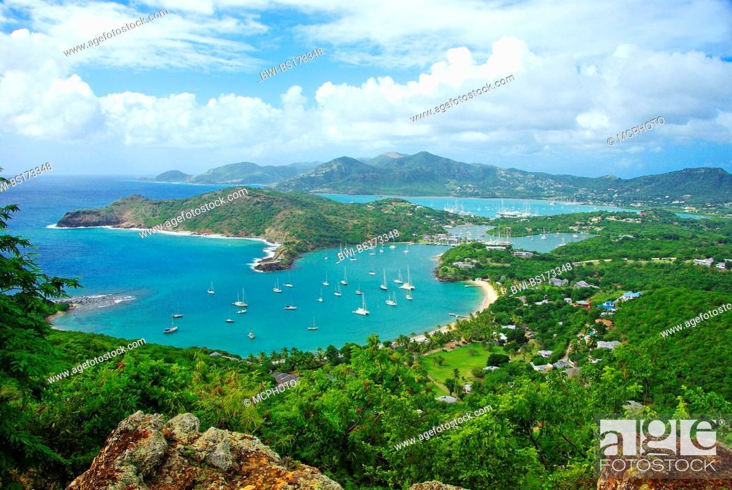 Stock Photo: Leewards Island; Leeward Inseln; Shirley Heights; English Harbour; Falmouth Harbour, Antigua and Barbuda, Caribbean Sea.