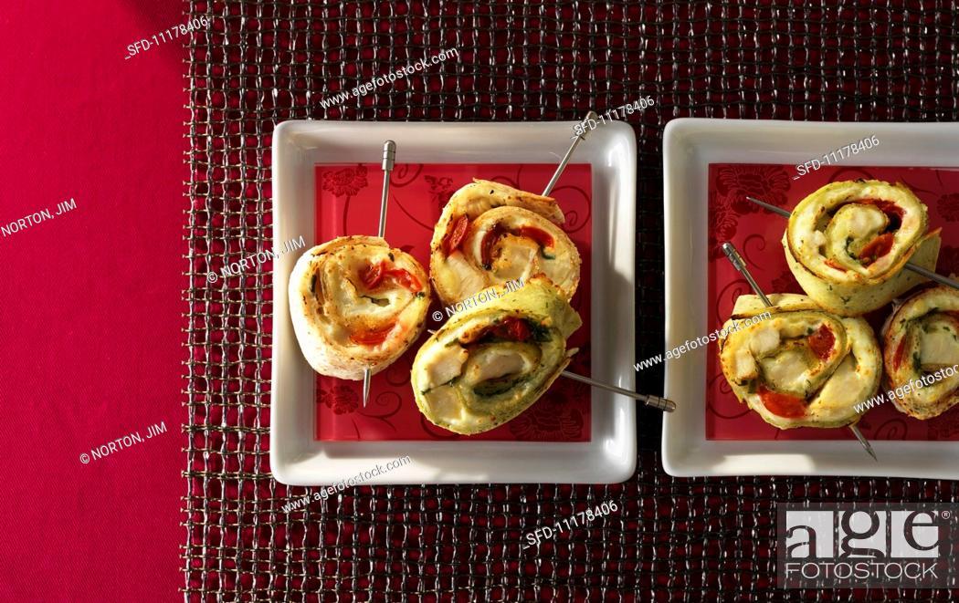Stock Photo: Tortilla and chicken spirals.