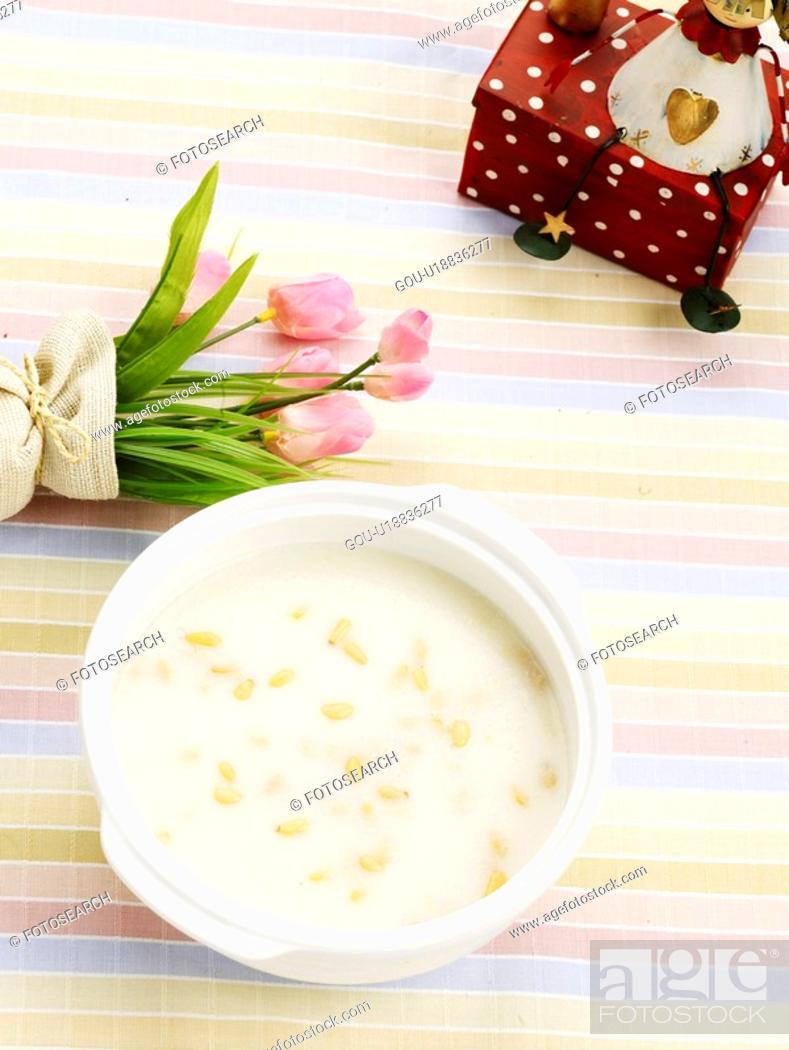 Stock Photo: food, flower, pine nut, dish, vassel, cuisine, pine nuts gruel.