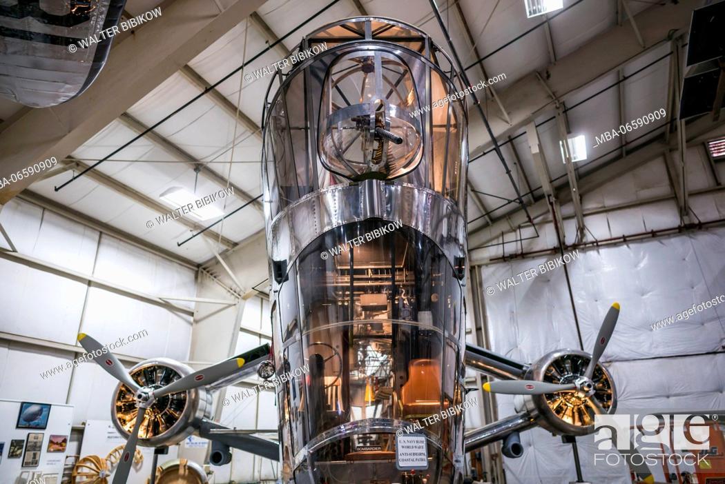 Stock Photo: USA, Connecticut, Windsor Locks, New England Air Museum, WW-2-era US Navy Goodyear ZNP-V dirigible control cabin.