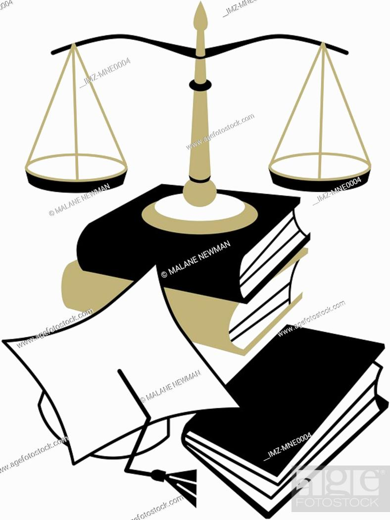 Stock Photo: An illustration of a graduation cap, a stack of books and the Scales of Justice.