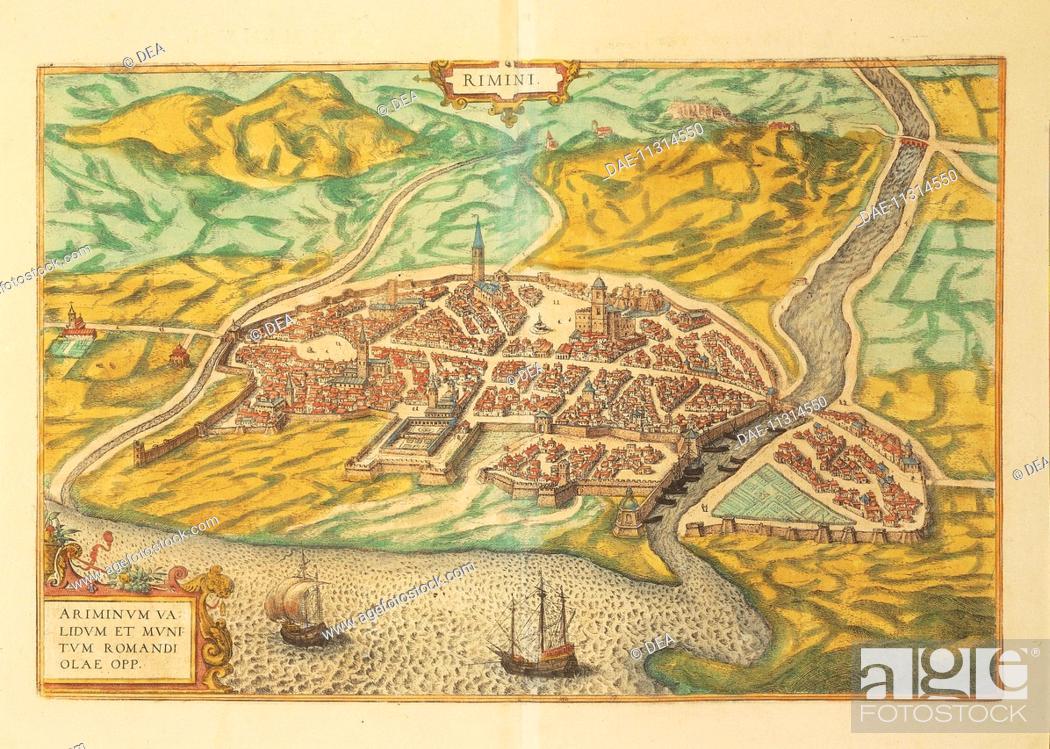 Cartography Italy 16th Century Map Of Rimini From Civitates