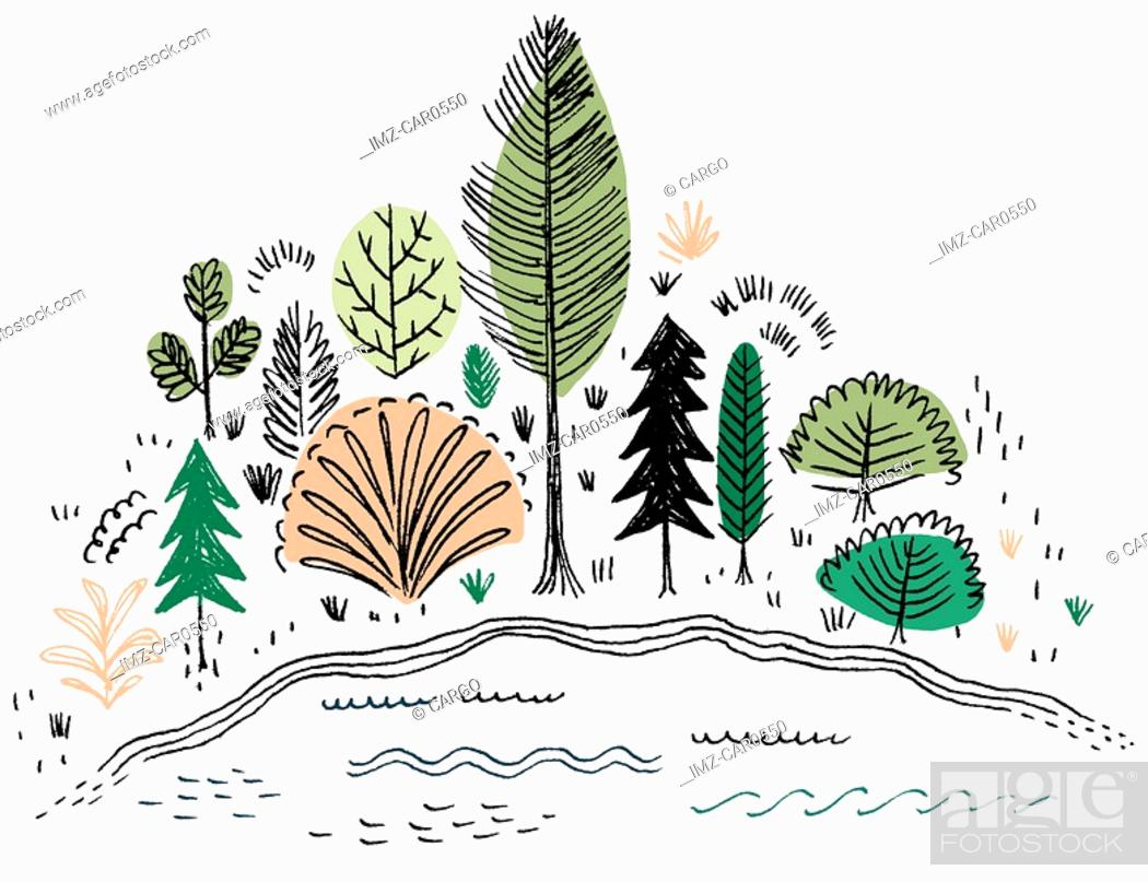 Stock Photo: Trees by the lakeside.