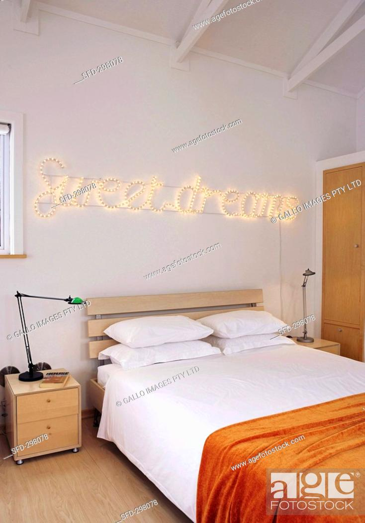Bedroom With Decorative Lighting Stock Photo Picture And