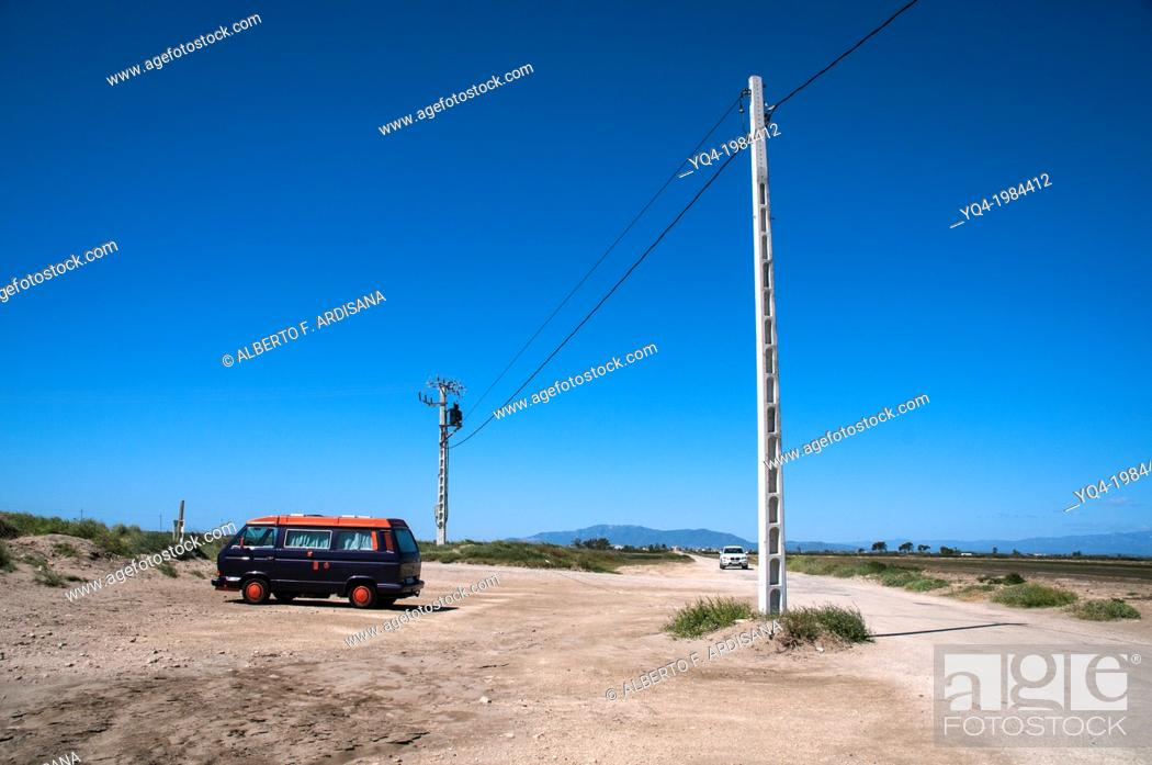 Stock Photo: Van at the mouth of the Ebro, Catalonia, Spain.