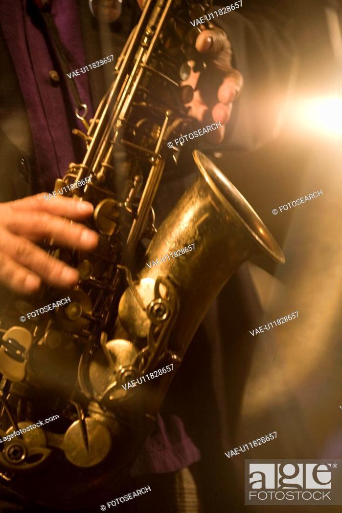 Stock Photo: Saxophone.