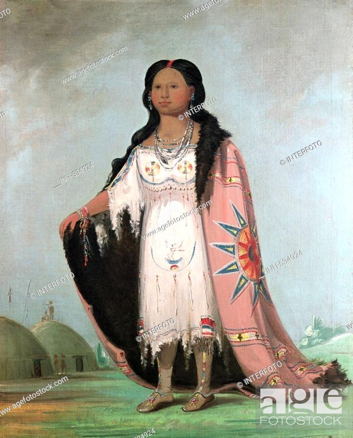 Stock Photo: geography / travel, USA, people, American Indians, tribes, Arikara, 'Sweet Scented Grass' twele year old daughter of chief 'Bloody Hand', painting.