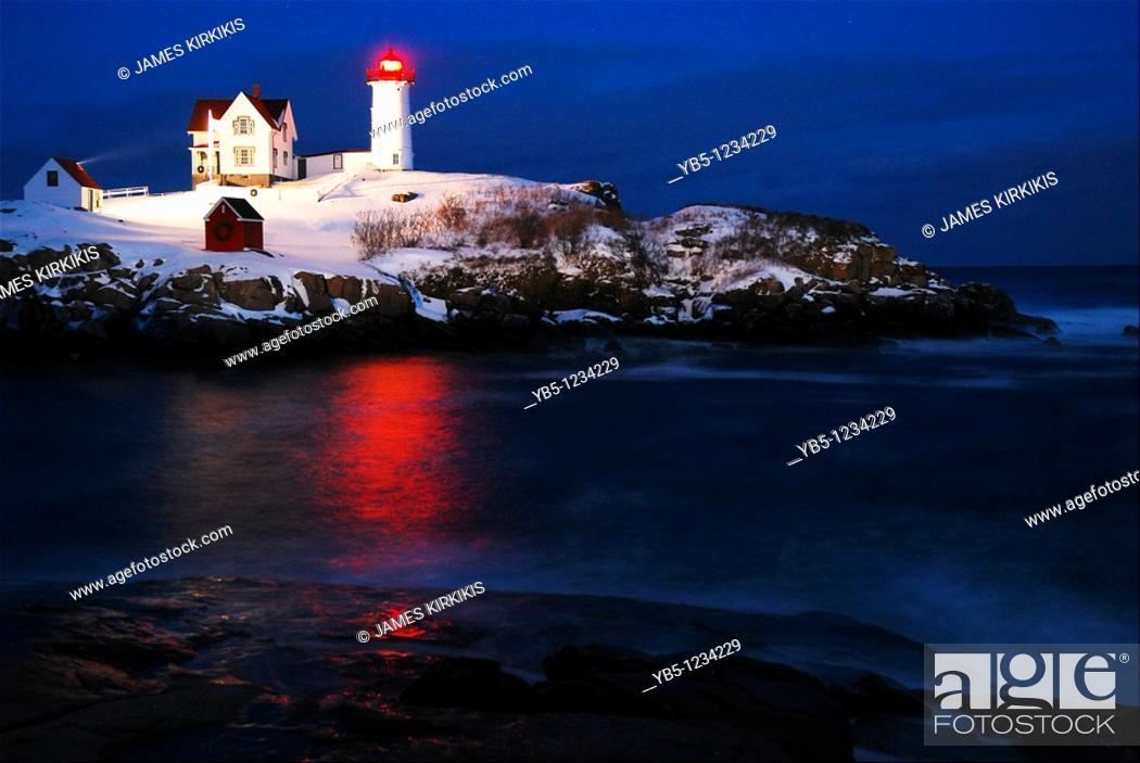 Stock Photo: Twilight, Nubble Lighthouse.