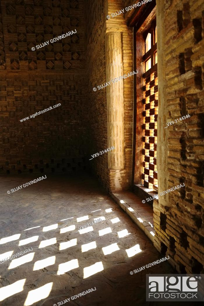 Stock Photo: Bukhara, Uzbekistan - August 27, 2016: Interior walls of Samanid Mausoleum, esteemed works of Central Asian architecture, and was built between 892 and 943 CE.